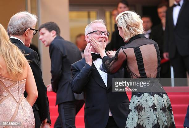 Thierry Fremaux and Kristen Stewart attend the 'Cafe Society' premiere and the Opening Night Gala during the 69th annual Cannes Film Festival at the...