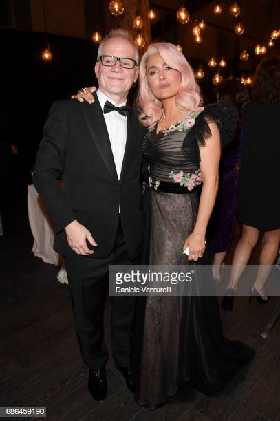 Thierry Fremaux and Salma Hayek attend the Women in Motion Awards Dinner at the 70th Cannes Film Festival at Place de la Castre on May 21 2017 in...