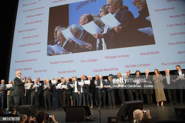 Thierry Fremaux and the guests onstage during the Opening Ceremony of the 9th Film Festival Lumiere on October 14 2017 in Lyon France