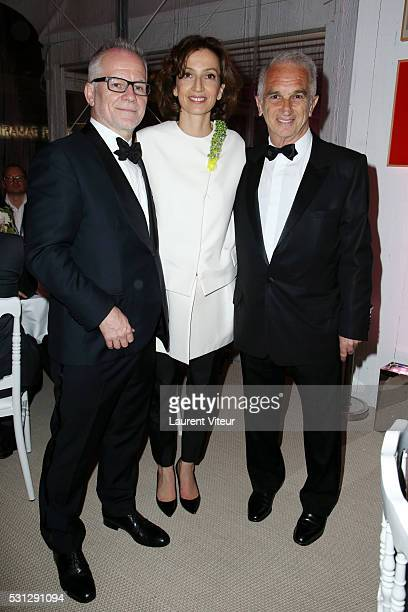 Thierry Fremaux Audrey Azoulay and Alain Terzian attend the Alain Terzian Dinner At the Petit Paris Beach at the annual 69th Cannes Film Festival at...