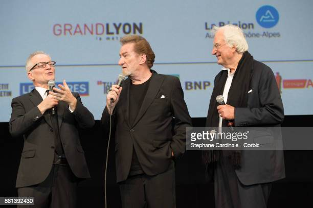 Thierry Fremaux Eddy Mitchell and Bertrand Tavernier attend the Opening Ceremony of the 9th Film Festival Lumiere on October 14 2017 in Lyon France
