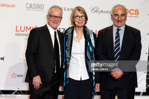 Thierry Fremaux Francoise Nyssen and Georges Kepenekian attend opening ceremony of 9th Film Festival Lumiere In Lyon on October 14 2017 in Lyon France