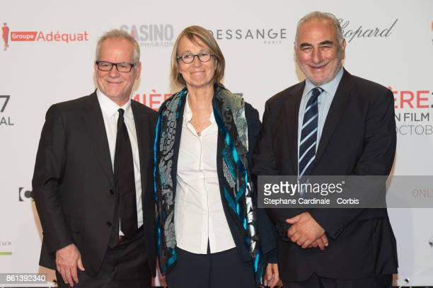 Thierry Fremaux Francoise Nyssen and Georges Kepenekian attend the Opening Ceremony of the 9th Film Festival Lumiere on October 14 2017 in Lyon France