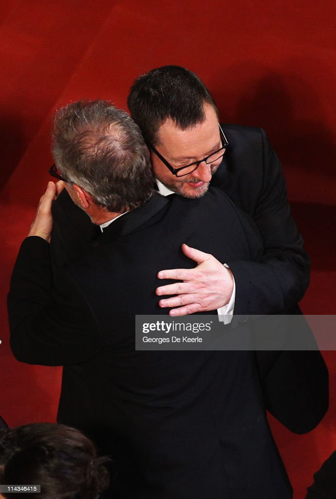 <a gi-track='captionPersonalityLinkClicked' href=/galleries/search?phrase=Thierry+Fremaux&family=editorial&specificpeople=618039 ng-click='$event.stopPropagation()'>Thierry Fremaux</a>, General Delegate greets director Lars Von Trier at the 'Melancholia' premiere during the 64th Annual Cannes Film Festival at Palais des Festivals on May 18, 2011 in Cannes, France.