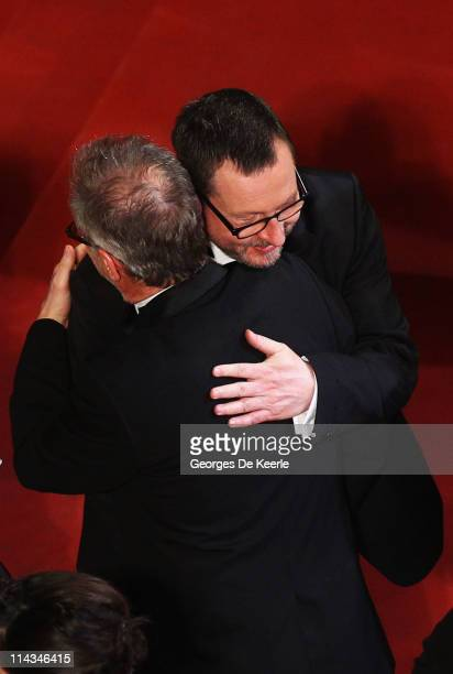 Thierry Fremaux General Delegate greets director Lars Von Trier at the 'Melancholia' premiere during the 64th Annual Cannes Film Festival at Palais...