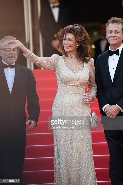 Thierry Fremaux Sophia Loren and William Goodrum attend 'Voce Umana' Premiere during the 67th Annual Cannes Film Festival on May 20 2014 in Cannes...