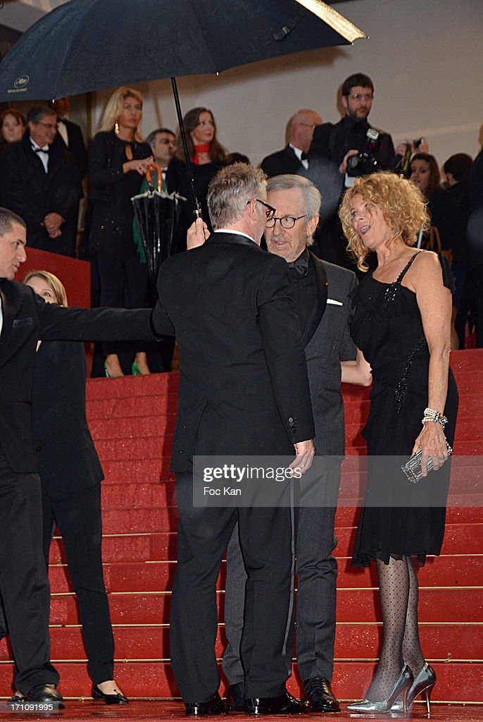 Thierry Fremaux (from back), Steven Spielberg and Kate Capshaw attend the Premiere of 'Jimmy P. (Psychotherapy Of A Plains Indian)' at Palais des Festivals during The 66th Annual Cannes Film Festival on May 18, 2013 in Cannes, France.
