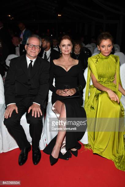 Thierry Fremaux Susan Sarandon and Lola KarimovaTillyaeva attend the Kineo Diamanti Awards during the 74th Venice Film Festival at Excelsior Hotel on...