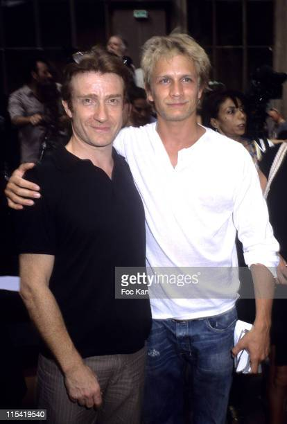 Thierry Fremont and Jeremie Renier during 2006 Paris Menswear Spring/Summer 2007 Francesco Smalto Front Row at Ecole des Beaux Arts in Paris France