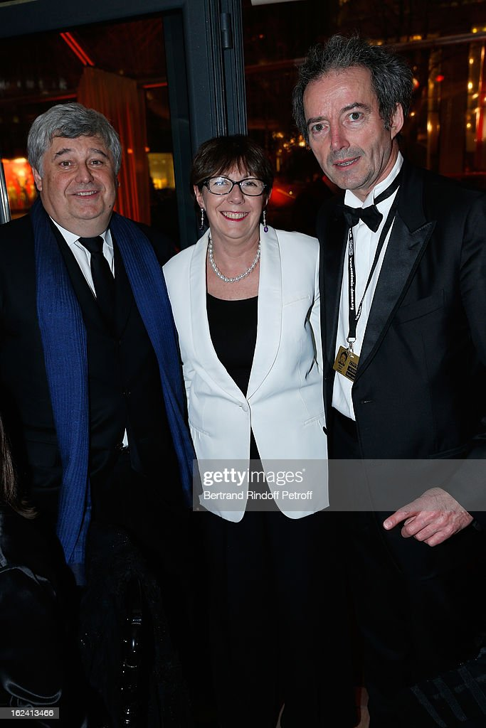 Thierry Fritsch, Marie Claire Fritsch and Alain Rocca attend the Cesar Film Awards 2013 at Le Fouquet's on February 22, 2013 in Paris, France.