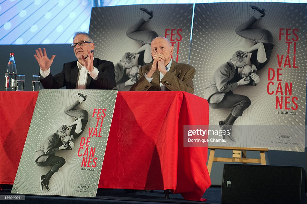Thierry Frémaux and <a gi-track='captionPersonalityLinkClicked' href=/galleries/search?phrase=Gilles+Jacob&family=editorial&specificpeople=212799 ng-click='$event.stopPropagation()'>Gilles Jacob</a> attends the 66th Cannes Film Festival Official Selection Presentation - Press Conference at Cinema UGC Normandie on April 18, 2013 in Paris, France.