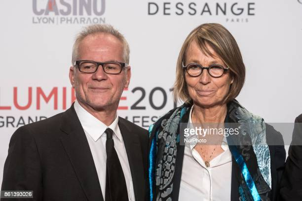 Thierry Frémaux director of the Lumière Institute and Françoise Nyssen Minister of Culture poses in front of the photographers when they arrives at...