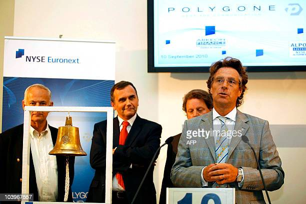 Thierry Goor cofounder of communication agency Polygone attends the opening bell ceremony to mark it's initial public offering on the NYSE Alternext...