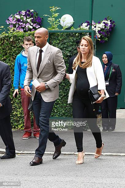 Thierry Henry and Andrea Rajacic seen arriving at Wimbedon on July 12 2015 in London England