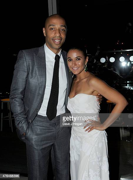 Thierry Henry and Emmanuelle Chriqui attend the 'Entourage' After Party at the Rumpus Room in the Mondrian London Hotel on June 9 2015 in London...