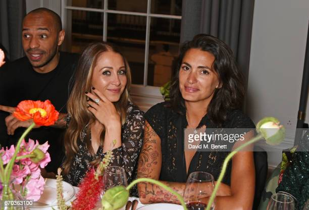 Thierry Henry Andrea Rajacic and Jessica LemariePires attend a VIP dinner celebrating the private view of The Maddox Gallery's Bradley Theodore...