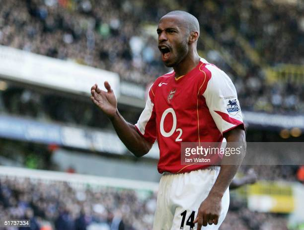 Thierry Henry celebrates a goal during the Barclays Premiership match between Tottenham Hotspur and Arsenal at White Hart Lane on November 13 2004 in...