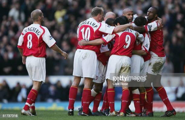 Thierry Henry of Arsenal celebrates after scoring during the Barclays Premiership match between Tottenham Hotpsur and Arsenal at White Hart Lane on...