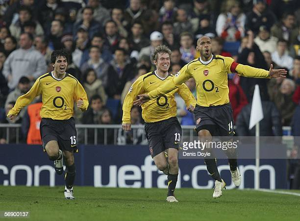 Thierry Henry of Arsenal celebrates his goal during a UEFA Champions League match between Real Madrid and Arsenal at the Santiago Bernabeu stadium on...