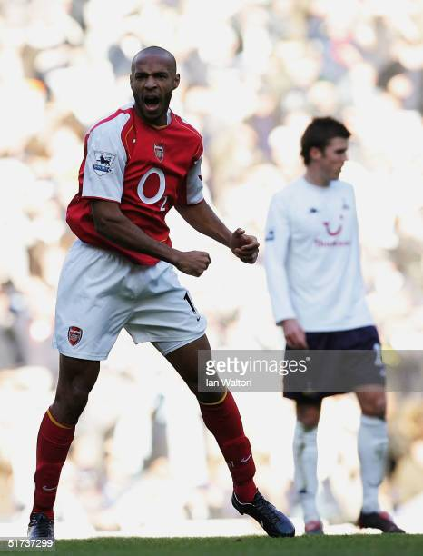 Thierry Henry of Arsenal celebrates his goal during the Barclays Premiership match between Tottenham Hotspur and Arsenal at White Hart Lane on...