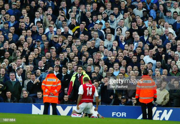 Thierry Henry of Arsenal celebrates his goal in front of the Tottenham Hotspur fans during the FA Barclaycard Premiership match between Arsenal and...
