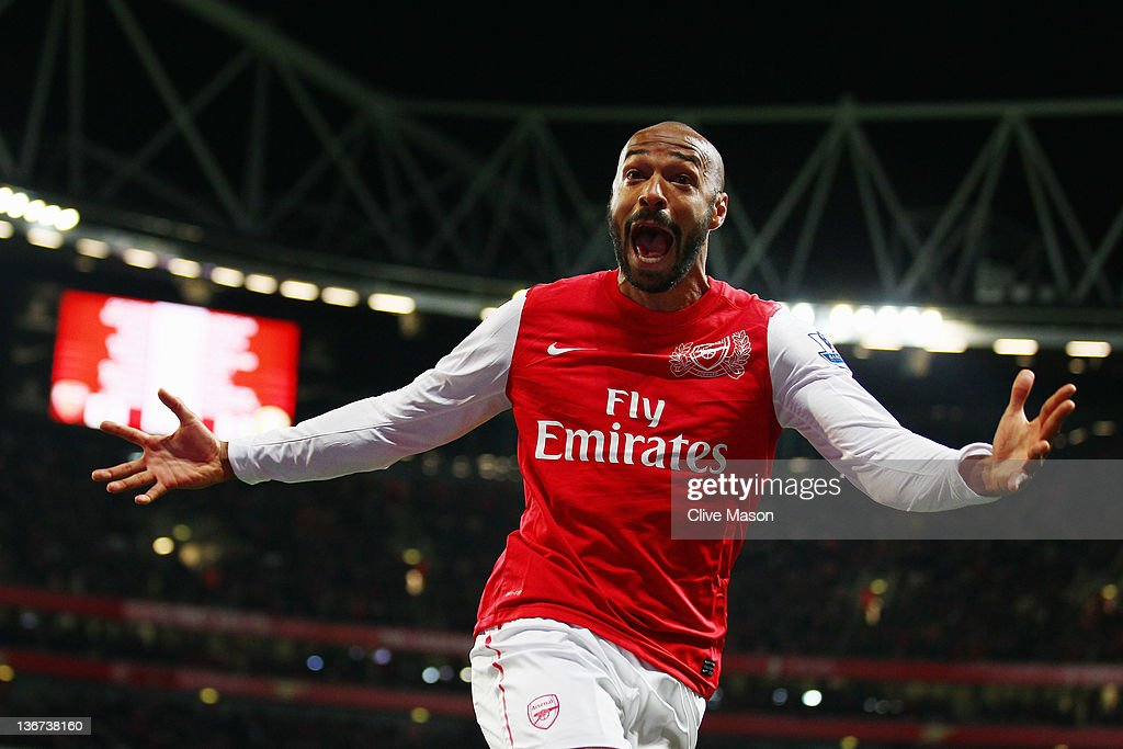 Thierry Henry of Arsenal celebrates scoring during the FA Cup Third Round match between Arsenal and Leeds United at the Emirates Stadium on January 9, 2012 in London, England.