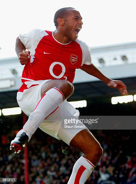 Thierry Henry of Arsenal celebrates scoring the second goal for Arsenal during the FA Barclaycard Premiership match between Arsenal and Chelsea on...