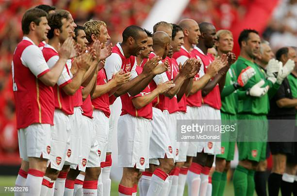 Thierry Henry of Arsenal enjoys a joke during the Dennis Bergkamp testimonial match between Arsenal and Ajax at the Emirates Stadium on July 22 2006...