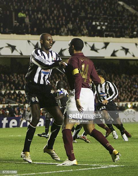 Thierry Henry of Arsenal finds his way at a corner blocked by Patrick Vieira of Juventus during the UEFA Champions League Quarter Finals First Leg...