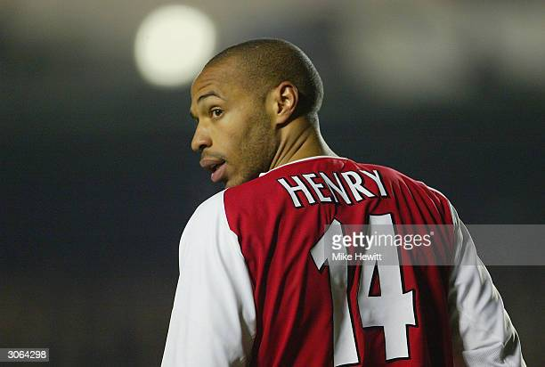 Thierry Henry of Arsenal looks back during the UEFA Champions League match between Arsenal and Celta Vigo at Highbury on March 10 2004 in London