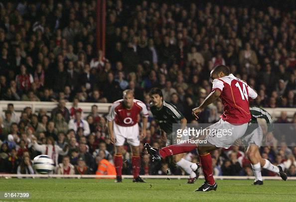 Thierry Henry of Arsenal scores the first goal for Arsenal during the UEFA Champions League Group E match between Arsenal and Panathinaikos at...