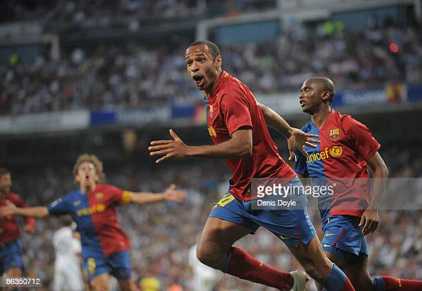 Thierry Henry of Barcelona celebrates after scoring Barcelona's fourth goal during the La Liga match between Real Madrid and Barcelona at the...