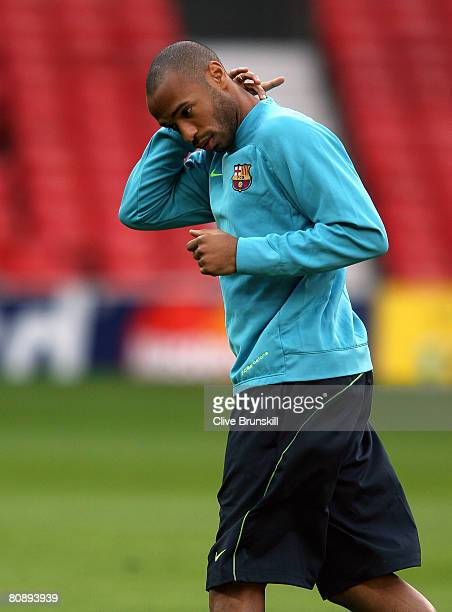 Thierry Henry of Barcelona during training ahead of the UEFA Champions League Semi Final 2nd leg on Tuesday at Old Trafford on April 28 2008 in...