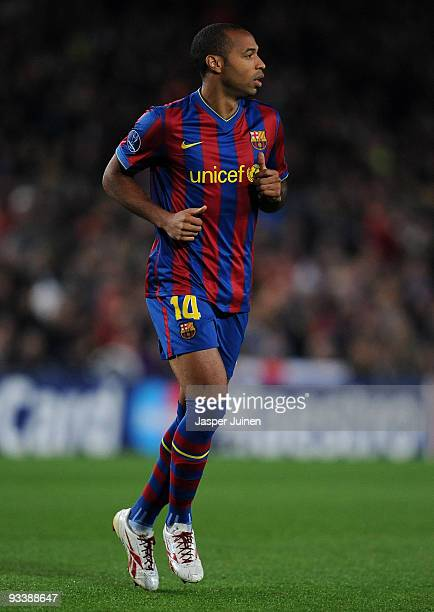 Thierry Henry of FC Barcelona in action during the UEFA Champions League group F match between FC Barcelona and Inter Milan at the Camp Nou Stadium...