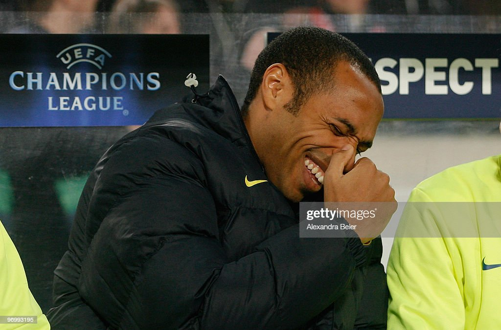 <a gi-track='captionPersonalityLinkClicked' href=/galleries/search?phrase=Thierry+Henry&family=editorial&specificpeople=167275 ng-click='$event.stopPropagation()'>Thierry Henry</a> of FC Barcelona laughs before the UEFA Champions League round of sixteen, first leg match between VfB Stuttgart and FC Barcelona at Mercedes-Benz-Arena on February 23, 2010 in Stuttgart, Germany.