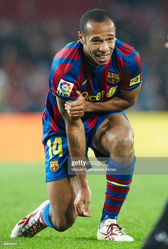 Thierry Henry of FC Barcelona reacts during the La Liga match between Barcelona and Sevilla at the Camp Nou stadium on January 16, 2010 in Barcelona, Spain. Barcelona won 4-0.