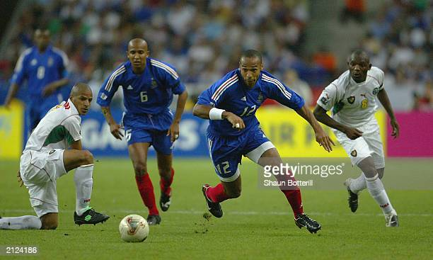 Thierry Henry of France breaks through during the Confederations Cup Final match between France and Cameroon at the Stade de France on June 29 2003...