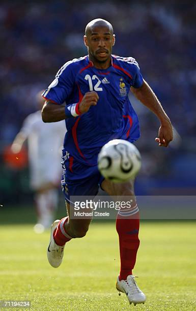 Thierry Henry of France chases the ball during the FIFA World Cup Germany 2006 Group G match between France and Switzerland at the GottliebDaimler...