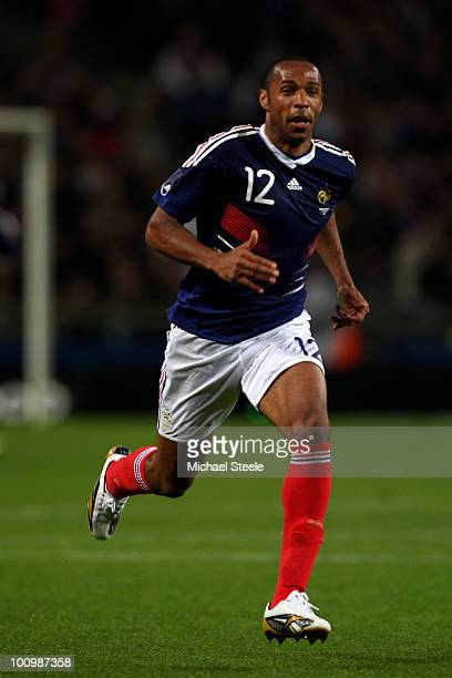 Thierry Henry of France during the France v Costa Rica International Friendly match at Stade Felix Bollaert on May 26 2010 in Lens France