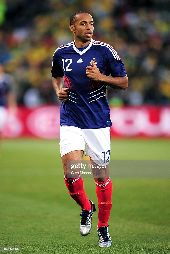 <a gi-track='captionPersonalityLinkClicked' href=/galleries/search?phrase=Thierry+Henry&family=editorial&specificpeople=167275 ng-click='$event.stopPropagation()'>Thierry Henry</a> of France in action during the 2010 FIFA World Cup South Africa Group A match between France and South Africa at the Free State Stadium on June 22, 2010 in Mangaung/Bloemfontein, South Africa.