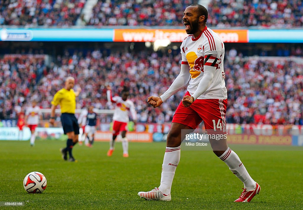 Thierry Henry #14 of New York Red Bulls reacts during the game against the New England Revolution during the Eastern Conference Final - Leg 1 at Red Bull Arena on November 23, 2014 in Harrison, New Jersey.