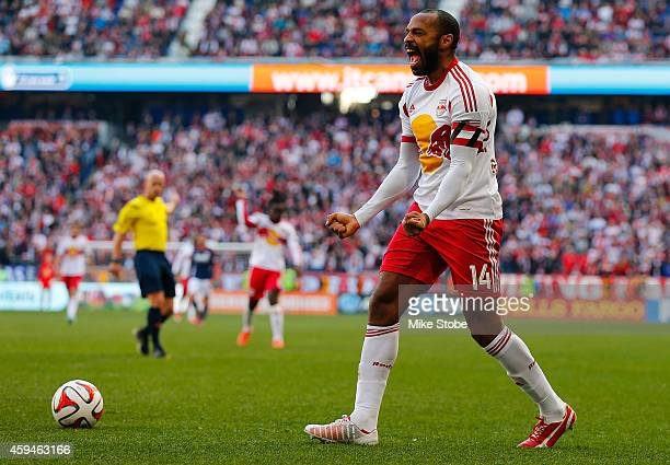 Thierry Henry of New York Red Bulls reacts during the game against the New England Revolution during the Eastern Conference Final Leg 1 at Red Bull...