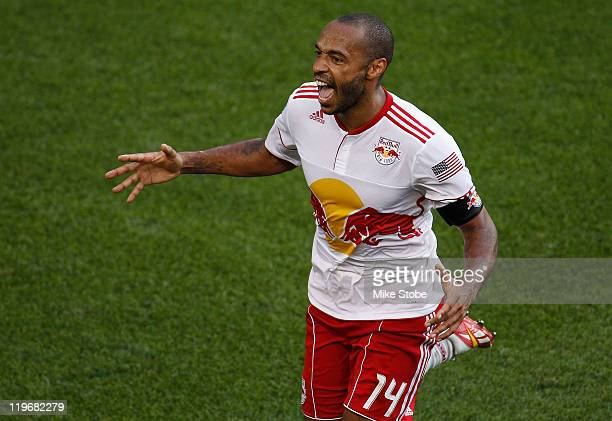 Thierry Henry of the New York Red Bulls celebrates his game tying goal in the 85th minute against FC Dallas on July 23 2011 at Red Bull Arena in...