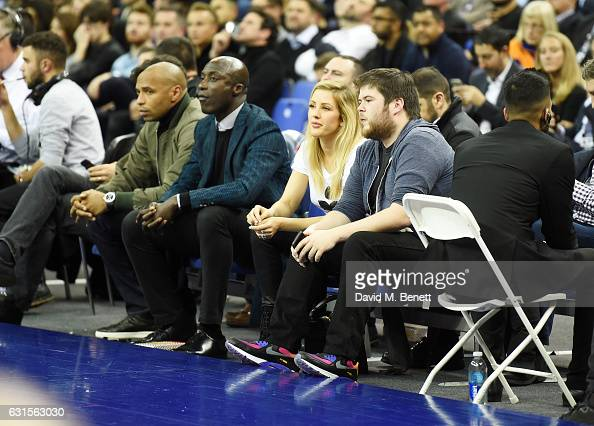 Thierry Henry Ozwald Boateng and Ellie Goulding sit courtside at the NBA Global Game London 2017 basketball game between the Indiana Pacers and...