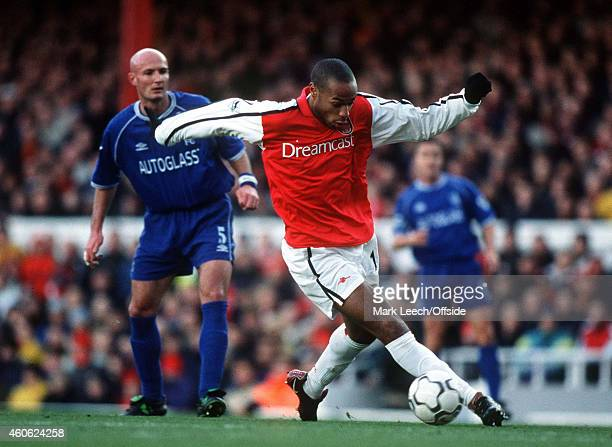Thierry Henry run with the ball during the Premiership match between Arsenal and Chelsea at the Emirates Stadium on January 13 2001 in London England