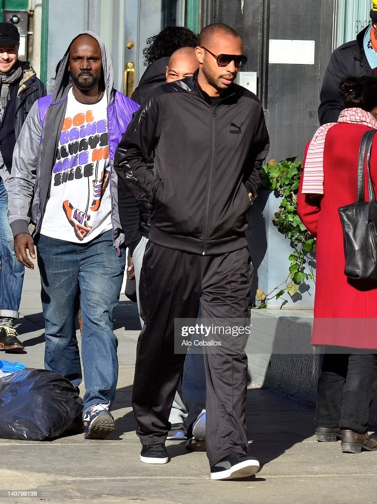<a gi-track='captionPersonalityLinkClicked' href=/galleries/search?phrase=Thierry+Henry&family=editorial&specificpeople=167275 ng-click='$event.stopPropagation()'>Thierry Henry</a> sighting on the streets of Manhattan on March 6, 2012 in New York City.