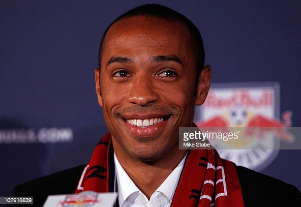 Thierry Henry speaks to the media during a press conference on July 15 2010 at Red Bull Arena in Harrison New Jersey