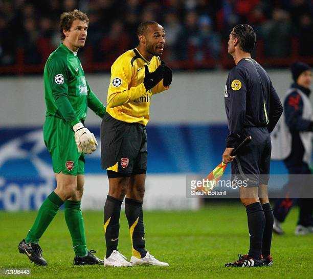 Thierry Henry the Arsenal captain protests with the linesman after his goal was disallowed at the end of the UEFA Champions League Group G match...
