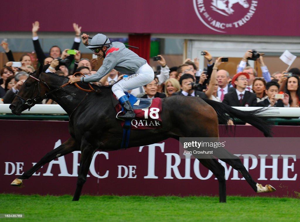 Thierry Jarnet riding Treve win The Qatar Prix de l'Arc de Triomphe at Longchamp racecourse on October 06, 2013 in Paris, France.