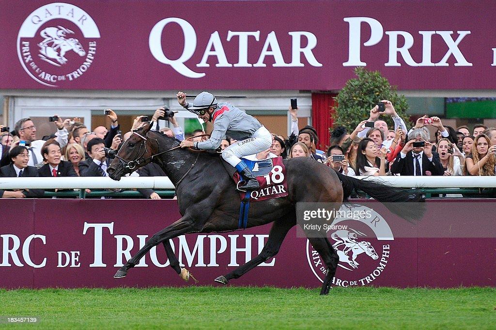 Thierry Jarnet riding Treve wins The Qatar Prix de l'Arc de Triomphe at Hippodrome de Longchamp on October 6, 2013 in Paris, France.
